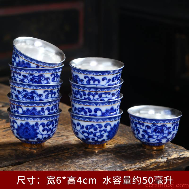 Tasted silver gilding masters cup size of blue and white porcelain teacup retro individual cup of kung fu tea set single glass ceramic bowl sample tea cup