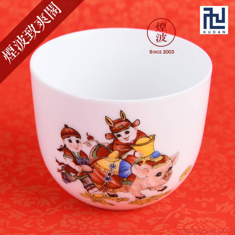 Those nine calcinations hand - made famille rose porcelain jingdezhen experienced painters maxim cylinder cup pig chicken