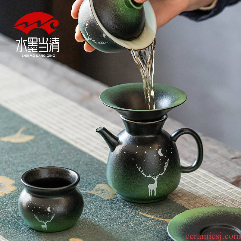 Japanese coarse pottery kung fu tea set suit household ceramics retro office tea cups lid bowl of simple ideas