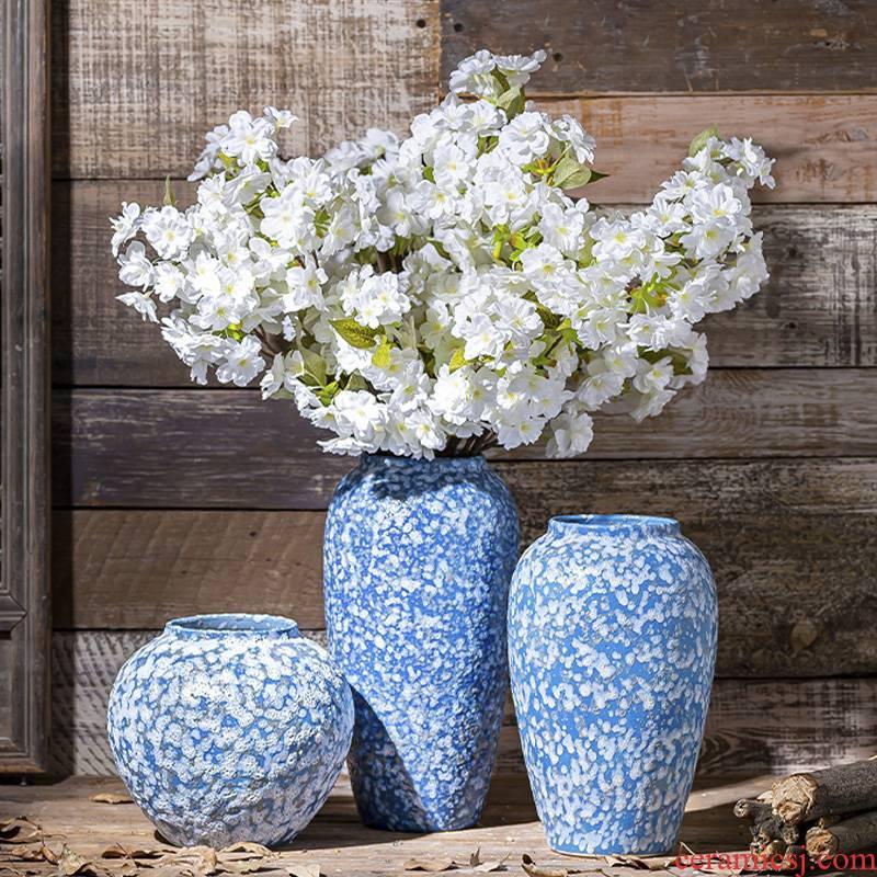 Ceramic vases, flower restoring ancient ways furnishing articles creative living room hydroponic flower arranging dried flowers coarse pottery desktop decoration decoration