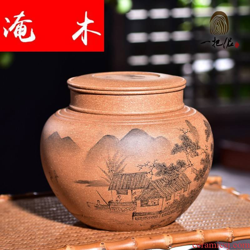 Submerged wood violet arenaceous caddy fixings yixing large pu 'er tea POTS and warehouse storage jar airtight jar of manual landscape