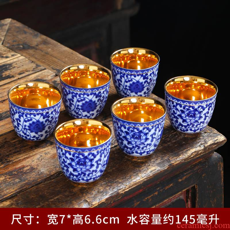 Silver colored enamel cups masters cup 999 sterling Silver single sample tea cup Silver goblet glass ceramic coppering. As household kung fu tea set