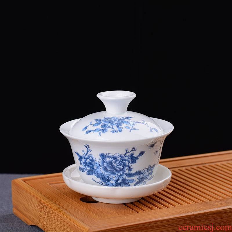 The kitchen trumpet three to enhance buying a 】 【 tureen white porcelain blue and white porcelain tea set a complete set of ceramic tea cups