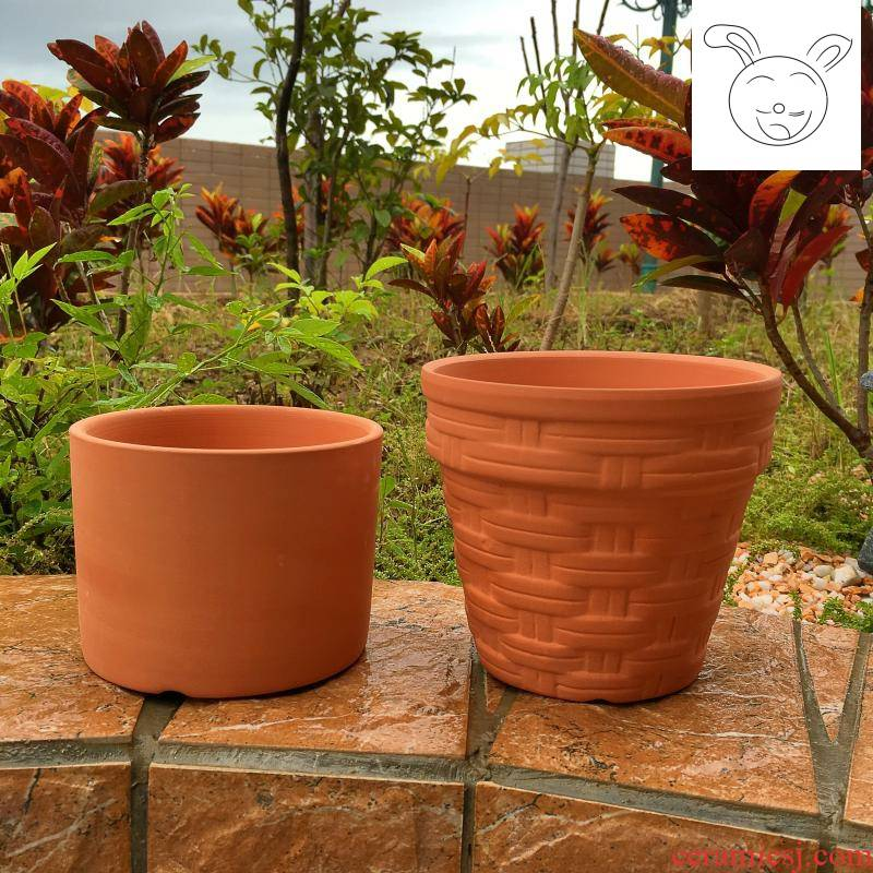 Red pottery flowerpot meaty plant flower pot ceramic flower pot pot straight flowerpot embossed flower POTS round flower pot