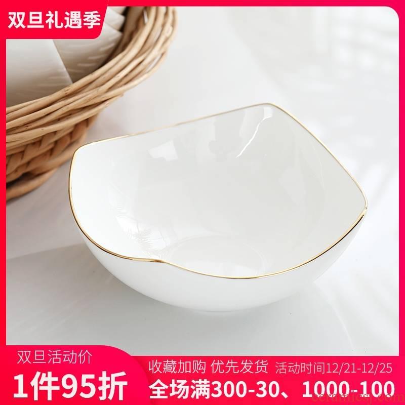 Ipads China rainbow such as bowl bowl Jin Bianfang creative fruit salad bowl bowl bowl bowl domestic large - sized ceramic bowl for breakfast