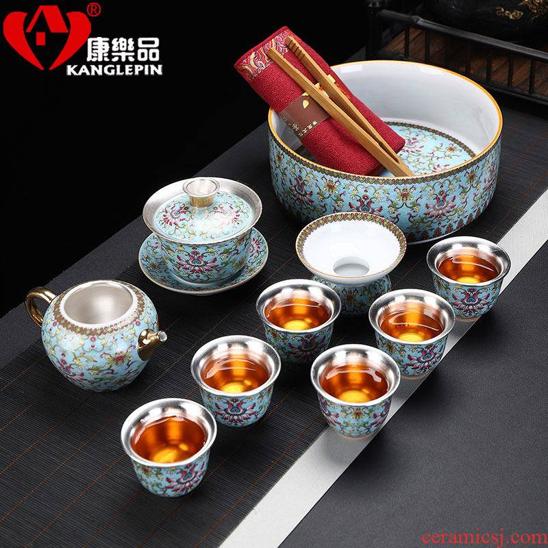 Recreational product silver clasp porcelain kung fu tea set silver colored enamel coppering. As ceramic household tureen tea pot bearing sample tea cup