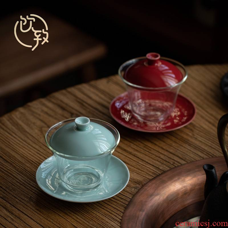 Tureen not hot three cups to ultimately responds to heat - resistant glass bowl of kung fu tea set a single transparent ceramic tea cup