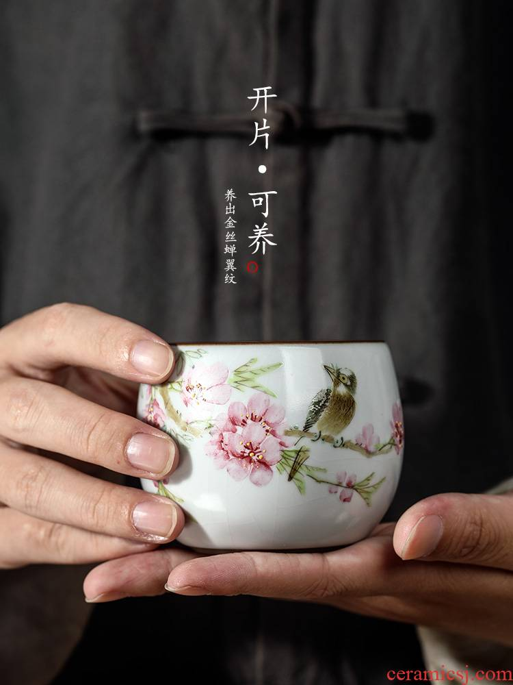 Your up kung fu tea cups jingdezhen hand - made peach blossom put water point master cup single cup pure manual up sample tea cup only