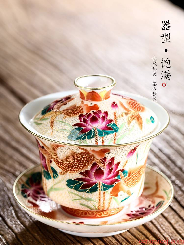 Jingdezhen hand - made goldfish only three tureen tea tea cups checking enamel paint to use kung fu tea set