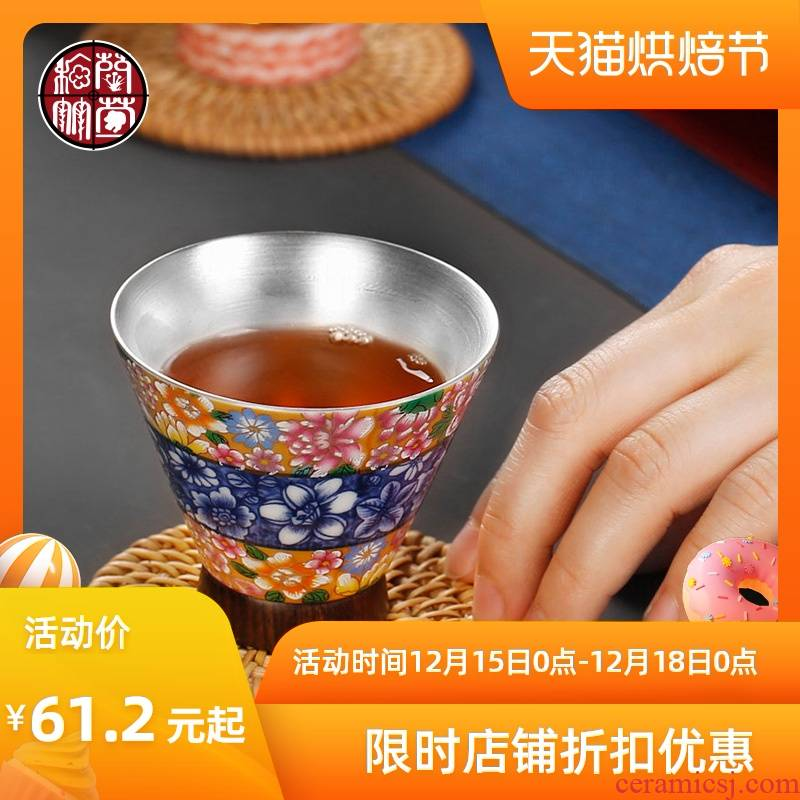 Tasted silver gilding sample tea cup silver small household kung fu ceramic cups single master cup move perfectly playable cup of jingdezhen