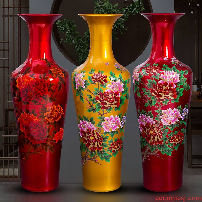 Jingdezhen porcelain ceramic red peony oversized ground vase hotel opening home sitting room adornment is placed