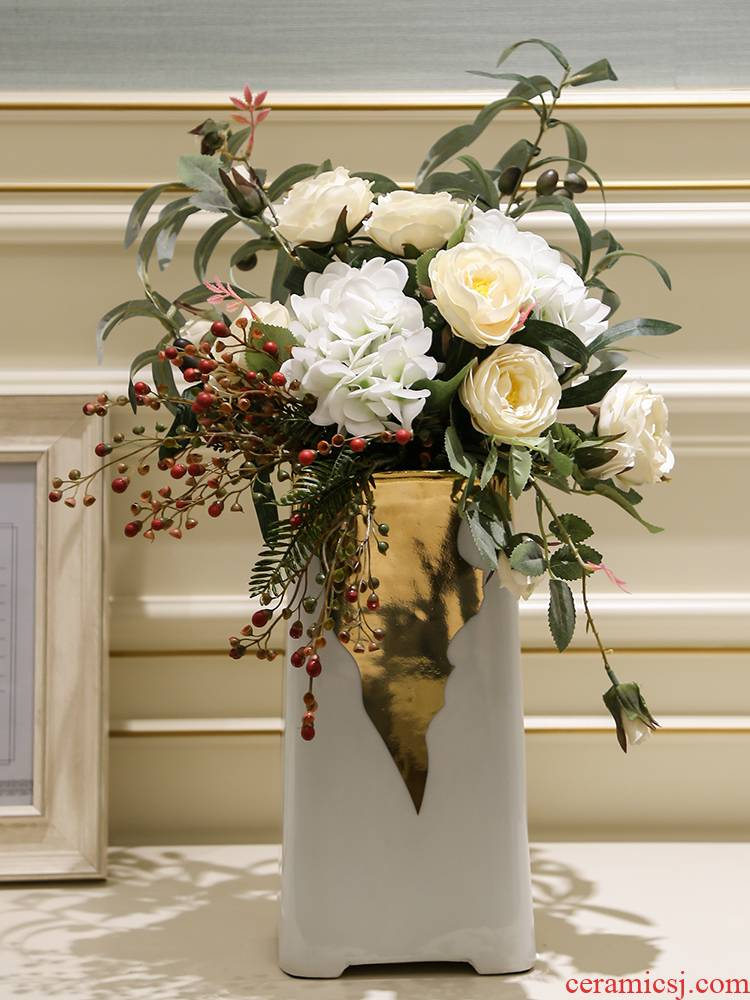 Light European - style key-2 luxury mesa ceramic vase simulation flowers floral arrangements furnishing articles TV ark, decoration decoration parts