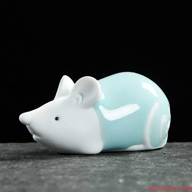 "Ceramic zodiac embellish small ornament express animal sign mini rat ox tiger rabbit snake horses sheep monkey chicken dogs"""
