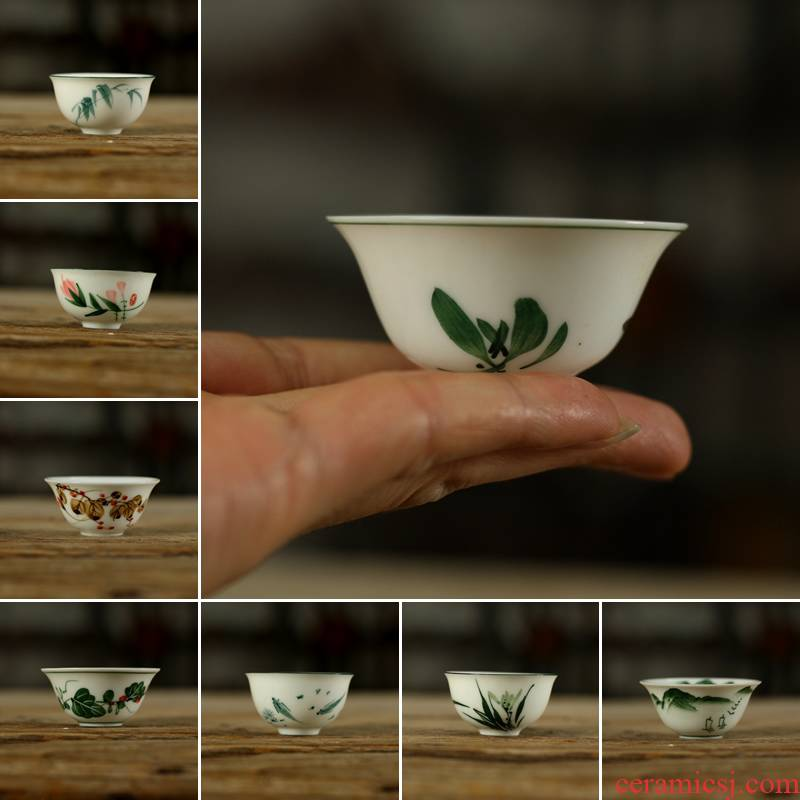 Kung fu tea chaoshan ceramic cup cup hand - drawn sketch sip small glass bowl with a bite of old goods in the 80 s