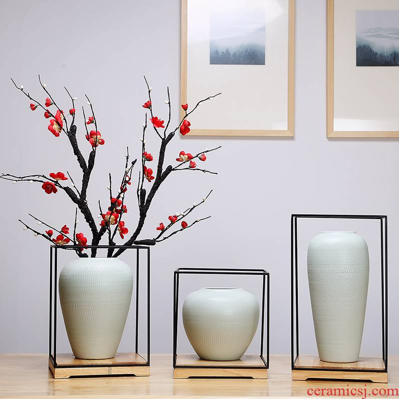 Jingdezhen ceramics vase white sitting room porch place simulation flower arrangement craft suits for Chinese study