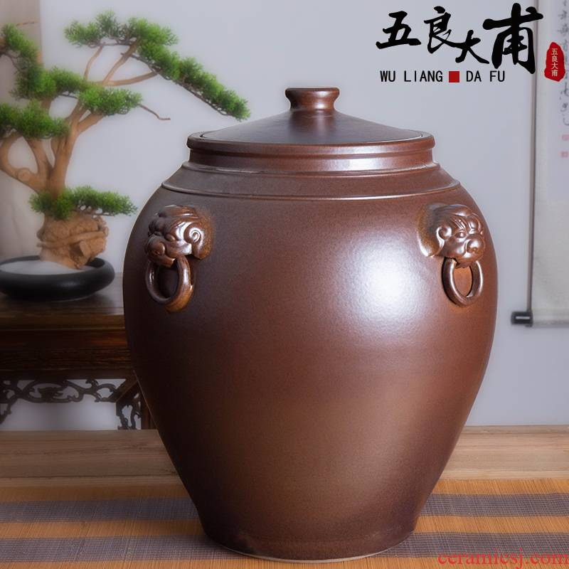 Jingdezhen ceramic it barrel household 50 kg 100 installed with cover face antique tea cylinder seal cylinder storage tank