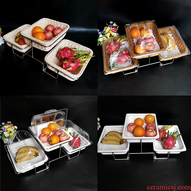 Buffet three fruit dish rack platter pastry cake tray tile - like multilayer food display Buffet