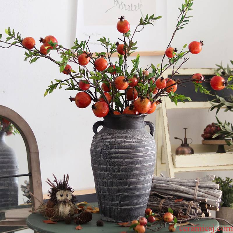 To embellish the manual POTS dry flower flower arranging flower implement coarse pottery vase flowerpot furnishing articles red clay earthenware jar imitation restoring ancient ways