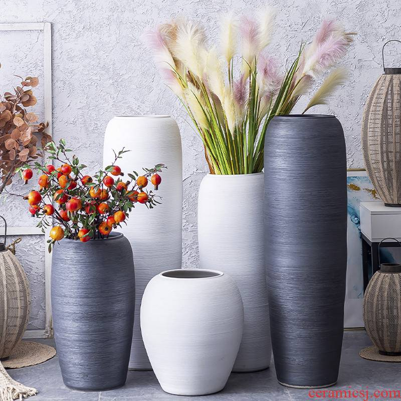 Nordic I and contracted sitting room of large white vase flower arranging hotel garden manual coarse pottery decorative furnishing articles
