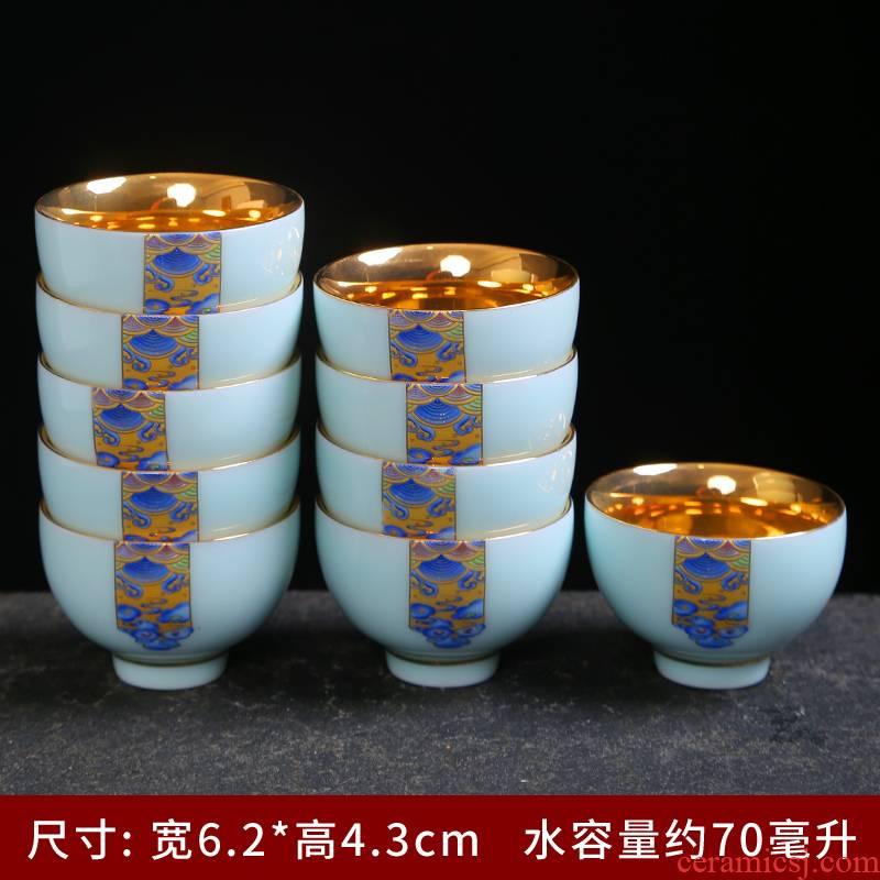 Longquan celadon kung fu tea set suit household contracted and I jingdezhen tea cup teapot tea art is the living room accessories