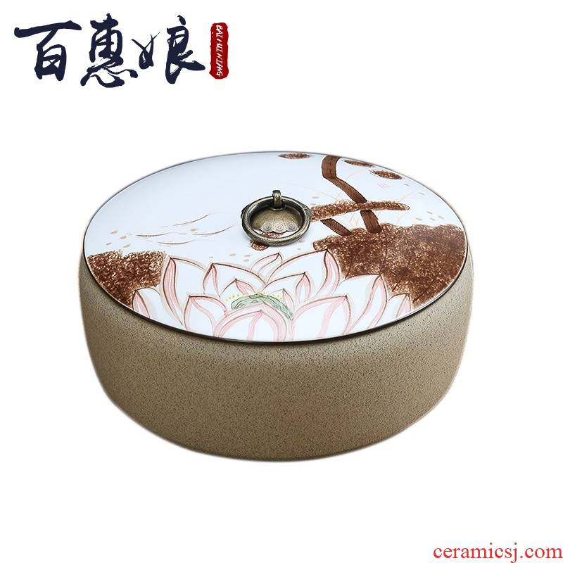 (niang hand large blue and white porcelain tea to wash to the ceramic with cover coarse pottery bowl writing brush washer pu 'er tea cake tea caddy fixings