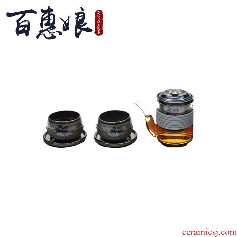 (niang to zen zen ji tea cup, a pot of two glass cup coarse pottery tea tea tea, kungfu tea set