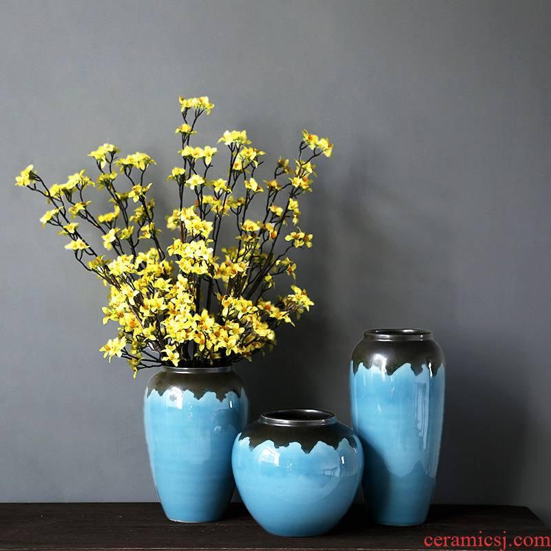 Jingdezhen porcelain vase simple atmospheric decorative vase modern creative home decoration vase of TV bar face