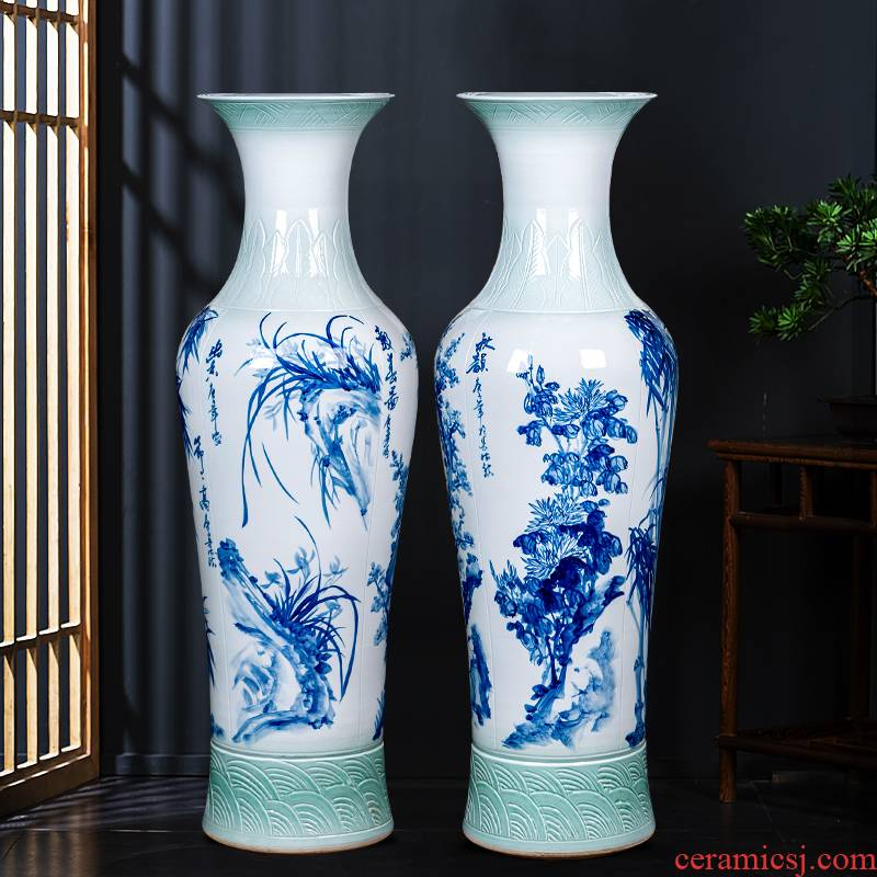Jingdezhen ceramics hand - made by patterns of large blue and white porcelain vase study hotel furnishing articles large living room