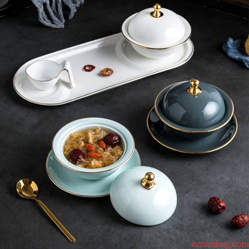 Ceramic stew stew with sugar water bowl bowl stewed bird 's nest bowls spoons sauce dish bowl dessert bowl with cover tray