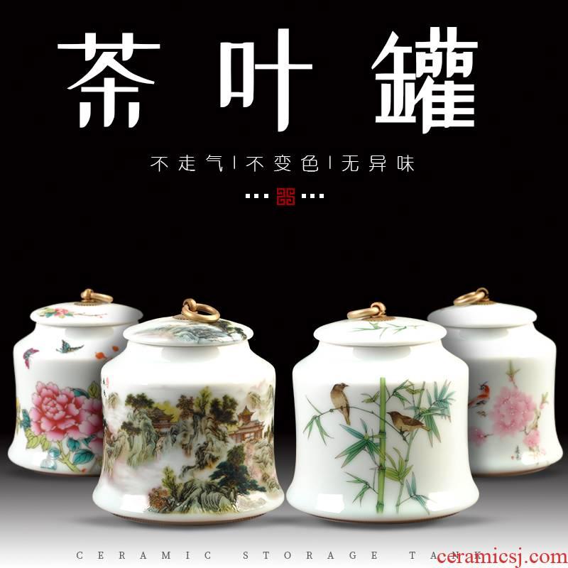 Caddy fixings ceramic large half jins to storage tanks seal pot pu 'er tea, green tea POTS moistureproof furnishing articles