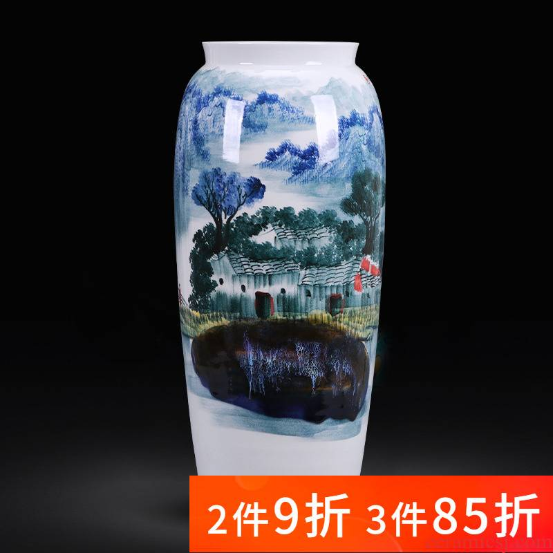 Jingdezhen ceramics hand - made jiangnan spring scenery large quiver ground vase sitting room adornment of Chinese style household furnishing articles