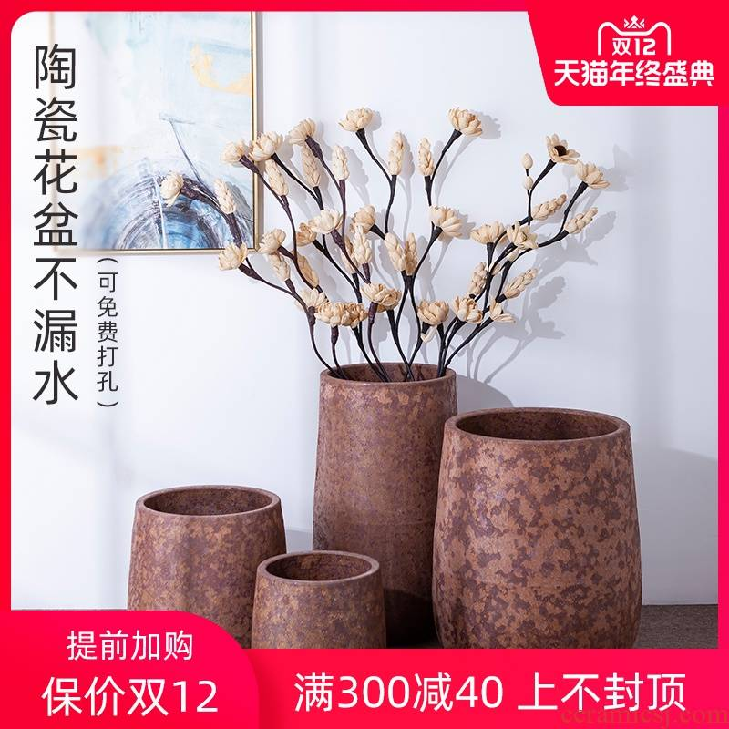 Green plant Nordic vase flowerpot I and contracted indoor plant decoration to restore ancient ways of large diameter cylinder clay ceramic hydroponics