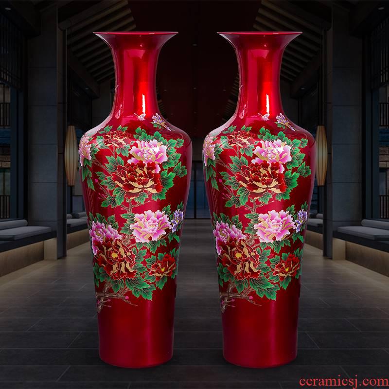 Jingdezhen porcelain ceramics China red peony large ground vase home sitting room hotel adornment furnishing articles