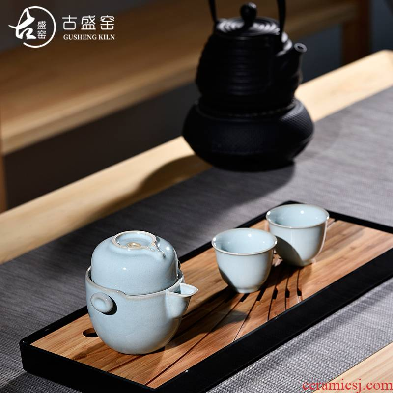Ancient sheng up 3 new your up to crack a pot of two or three cups of jingdezhen tea set ceramic portable travel