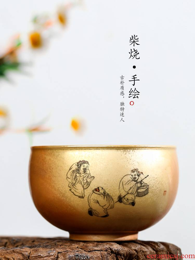 Pure manual firewood masters cup single CPU jingdezhen hand - made kung fu tea tea set ceramic sample tea cup bowl only