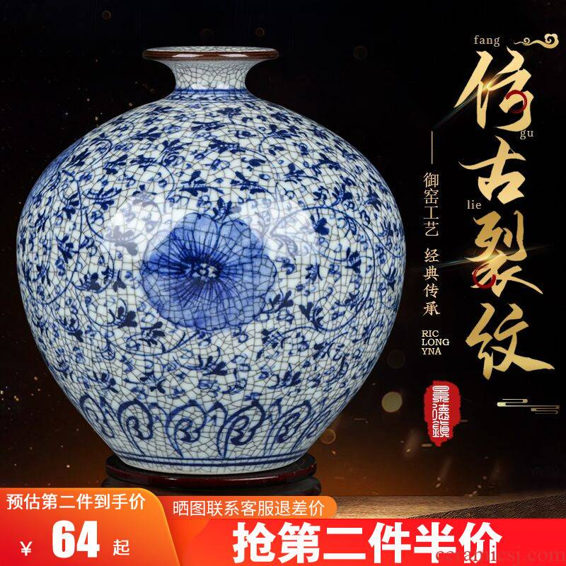 Jingdezhen ceramics Chinese style living room home wine ark, adornment furnishing articles antique hand - made crack blue and white porcelain vase