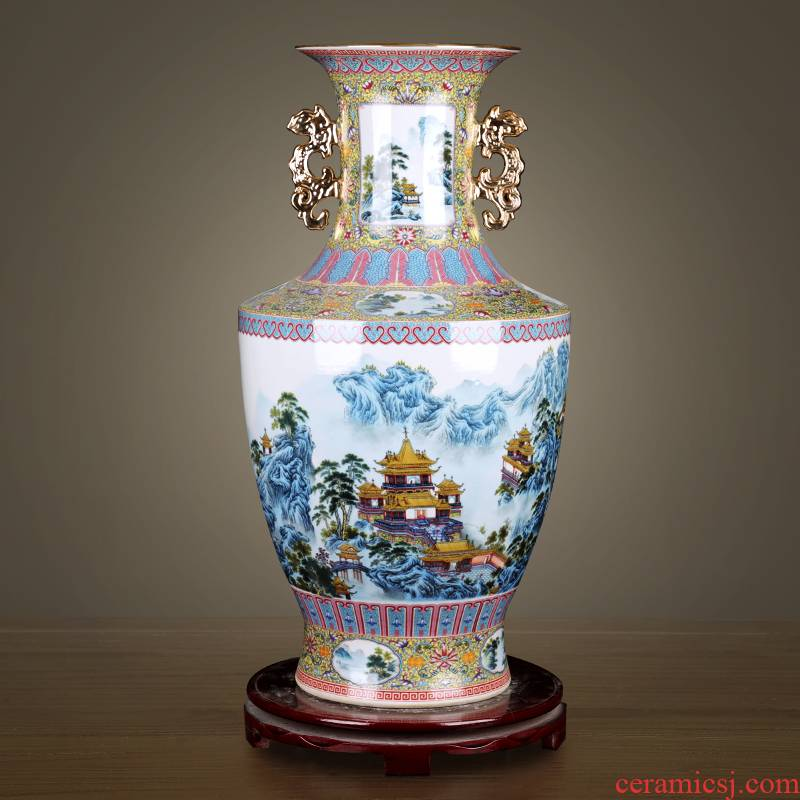 Porcelain of jingdezhen ceramic vases, antique pastel landscape Jin Zhongshuang ear Chinese style living room decoration TV ark, furnishing articles