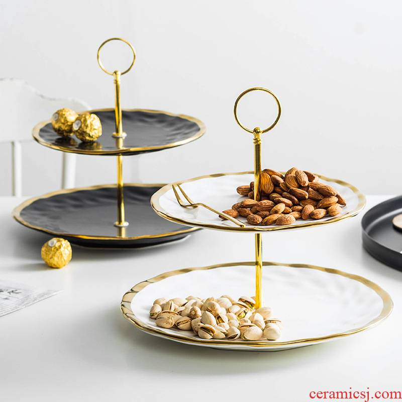 Europe type dry fruit tray seeds plate home up phnom penh creative ceramic light key-2 luxury series disc multilayer compote snack plate fruit bowl
