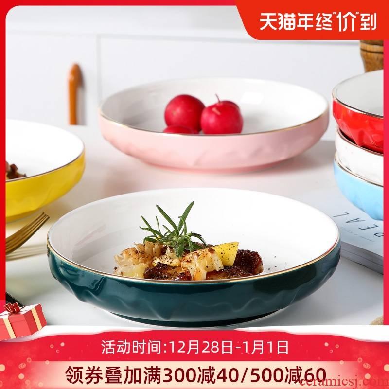 Japanese ceramic see colour side dish dish dish dish household creative web celebrity deep dish dish soup FanPan jingdezhen tableware