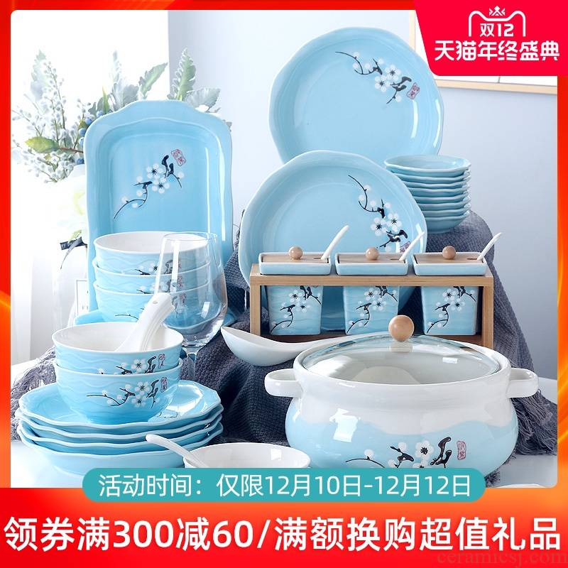 The dishes suit household ceramic bowl dish plate chopsticks spoons combination contracted creative Japanese ipads porcelain tableware suit