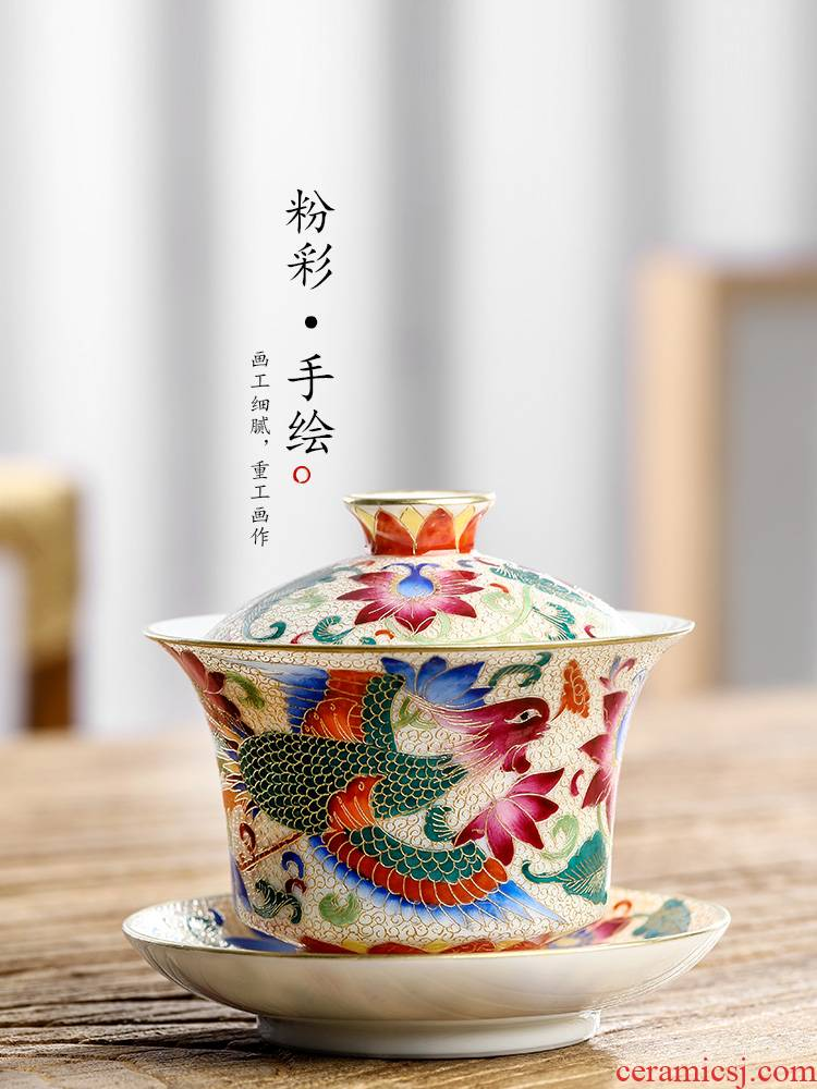 Pure manual only three tureen tea tea cups of jingdezhen hand - made ceramic bowl with colored enamel phoenix kung fu