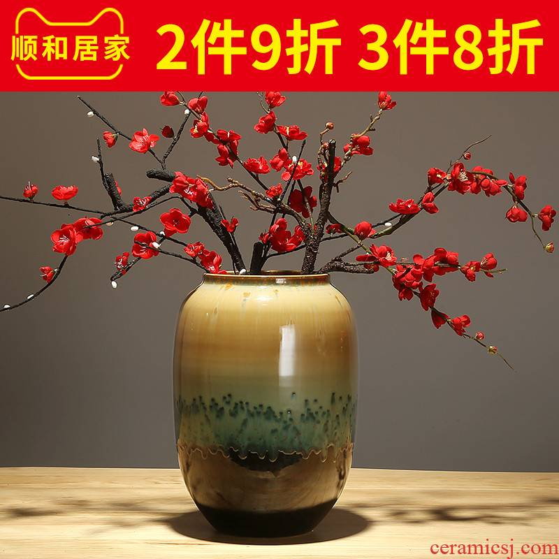 Jingdezhen ceramics modern creative new Chinese style household living room table place flower arranging dried flower decoration process