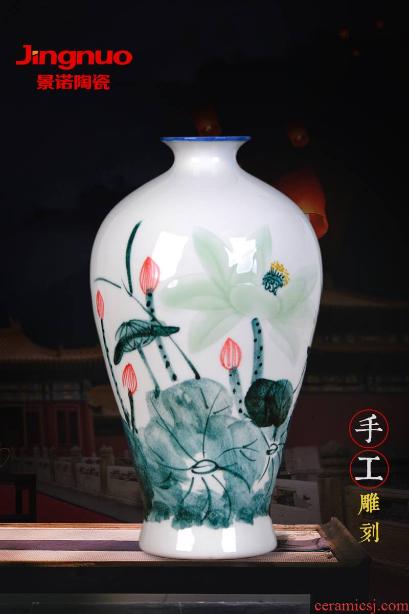 Jingdezhen ceramic hand carved vases, flower arrangement home furnishing articles contracted and I sitting room porch decoration