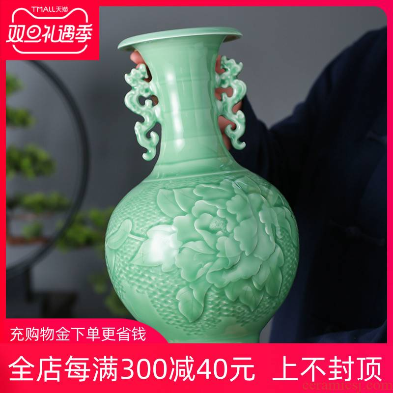 Jingdezhen ceramics archaize carving shadow blue bottle furnishing articles household act the role ofing is tasted, the sitting room porch TV ark, flower arrangement