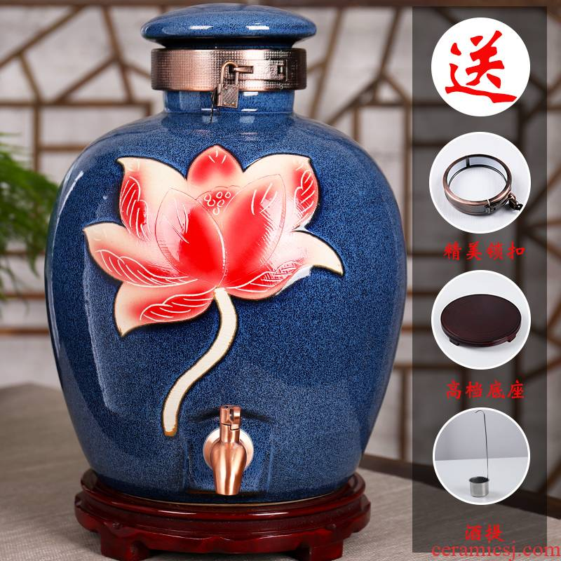 Mercifully liquor special household ceramic jars seal 20/30/50 kg pack it with tap water expressions using stock on the lid