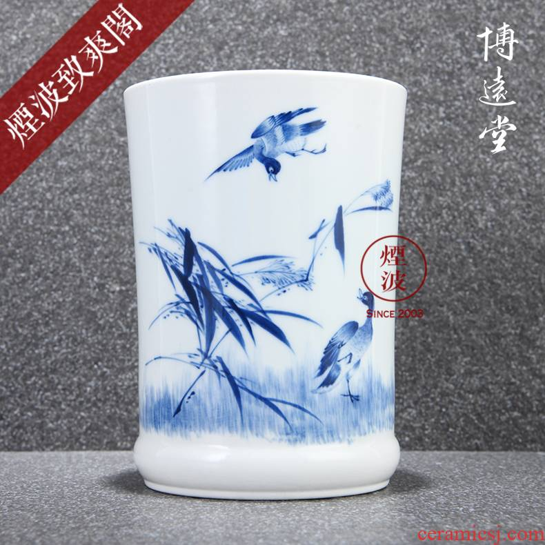 Those jingdezhen bo JingDe hand made blue and white porcelain up rich far far hall hall with blue and white LuYan brush pot