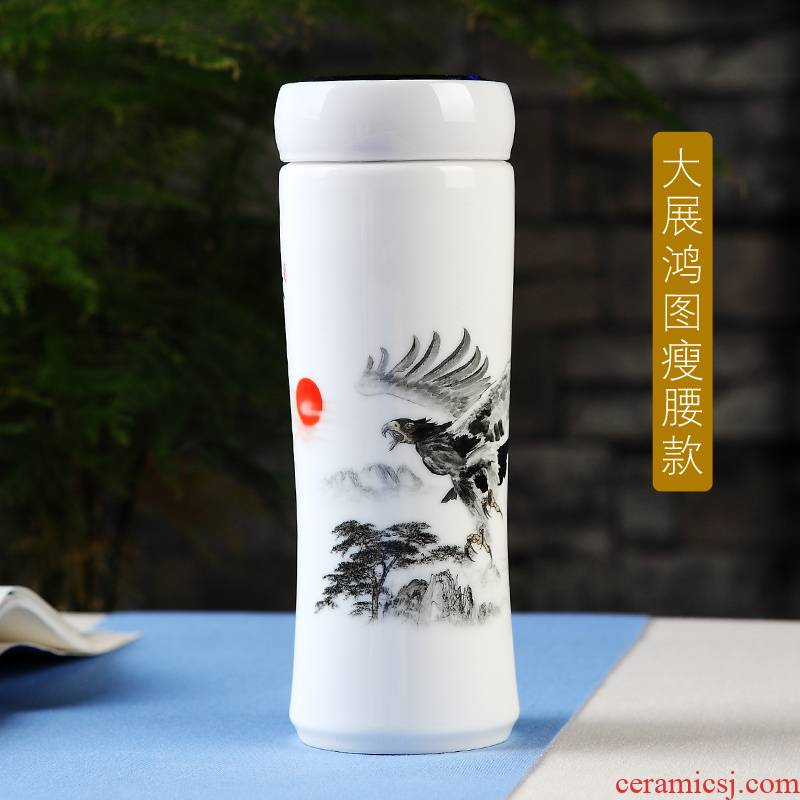 Jingdezhen new double ceramic cup tea cup vacuum cup with cover home office gift mugs