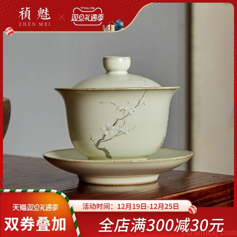 Shot incarnate your up hand - made name plum blossom put only three tureen jingdezhen ceramic cups kung fu tea tea bowl cover cup