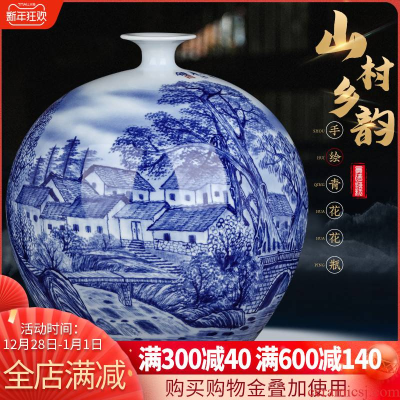 Jingdezhen ceramics famous hand - made pomegranate bottles of Chinese blue and white porcelain vase sitting room home furnishing articles