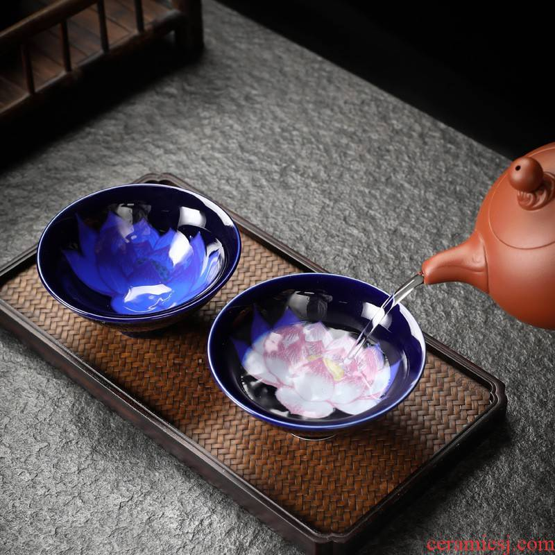 Hui shi peach blossom put color - changed master kung fu hat cup ceramic cups large cups of tea, tea set, sample tea cup Mid - Autumn festival